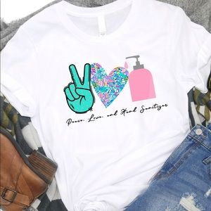 Peace, Love, and Hand Sanitizer T-shirt